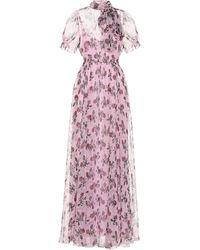 Valentino Vestido de chifón de seda floral - Rosa