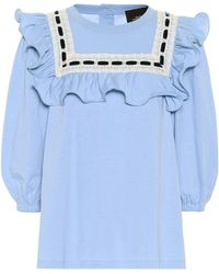 Marc Jacobs Cotton Jersey Ruffle Top - Blue