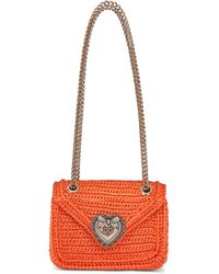 Dolce & Gabbana Sac Devotion Small en raphia - Orange