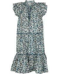 Veronica Beard Zee Printed Cotton Minidress - Blue