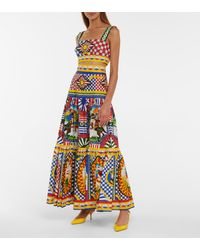 Dolce & Gabbana Printed Cotton Poplin Maxi Skirt - Multicolour