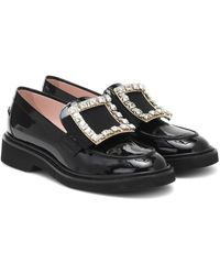 Roger Vivier Viv' Rangers Patent-leather Loafers - Black
