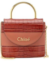 Chloé Aby Lock Crocodile-effect Leather Cross-body Bag - Multicolour