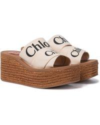 Chloé Woody Canvas Platform Espadrille Sandals - White
