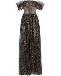 Rasario Sequined Off-shoulder Tulle Gown - Black