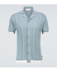 Orlebar Brown Camicia Windom in cotone e seta - Blu