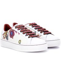 Etro - Printed Leather Trainers - Lyst