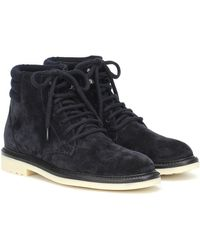 Loro Piana Icer Walk Suede Ankle Boots - Blue