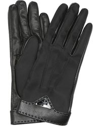 Prada Handschuhe aus Leder und Nylon - Schwarz