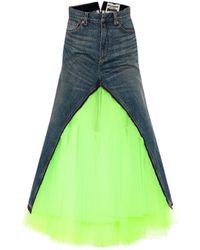 Junya Watanabe Falda midi de jeans y tul - Verde