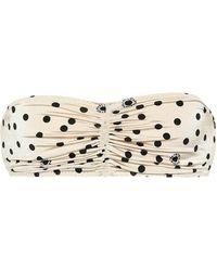 Stella McCartney Top de bikini bandeau de lunares - Blanco