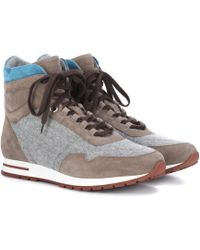 Loro Piana - Cashmere And Suede Sneakers - Lyst
