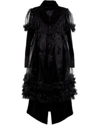 Noir Kei Ninomiya Ruffle-trimmed Wool Coat - Black