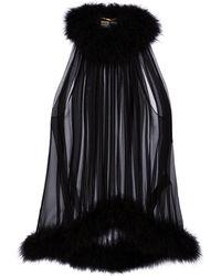 Saint Laurent Feather-trimmed Silk Crêpe Top - Black