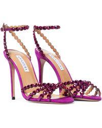 Aquazzura Tequila 105 Embellished Suede Sandals - Multicolour