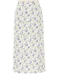 Brock Collection Jupe midi Rapa en coton mélangé à fleurs - Neutre