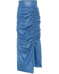 Materiel Tbilisi High-rise Faux Leather Midi Skirt - Blue