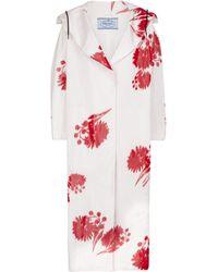Prada Manteau à capuche en soie à fleurs - Rouge