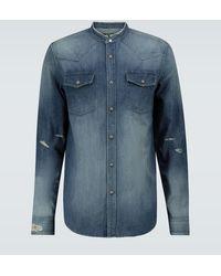 Balmain Vintage Embroidered Denim Shirt - Blue