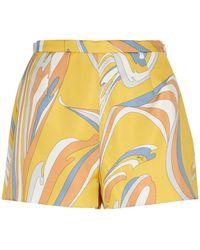 Emilio Pucci Shorts de seda estampados - Amarillo