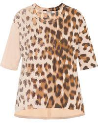 Roberto Cavalli Embellished Leopard Cotton T-shirt - Natural