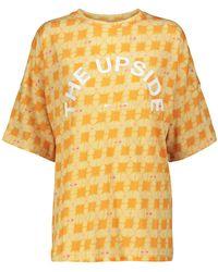 The Upside T-shirt Carla a stampa in cotone e lino - Metallizzato