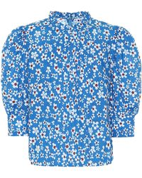 RIXO London Top Mandy de algodón floral - Azul