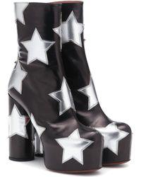 Vetements Leather Platform Ankle Boots - Black