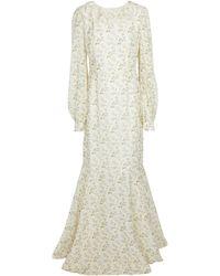Brock Collection Vestido largo de lino y algodón - Blanco