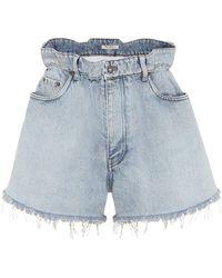 Miu Miu Paperbag Denim Shorts - Blue