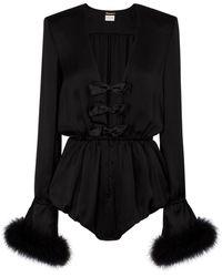 Saint Laurent Mono de satén de seda con plumas - Negro