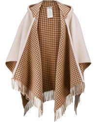 Fendi Poncho en laine et en cachemire à logo - Blanc