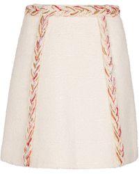 Giambattista Valli Tweed Wool-blend Miniskirt - White