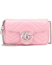 Gucci Gg Marmont Super Mini Schultertasche Aus Gestepptem Leder - Pink