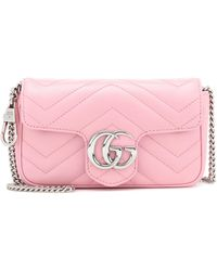 Gucci Gg Marmont Super Mini Quilted Leather Shoulder Bag - Pink