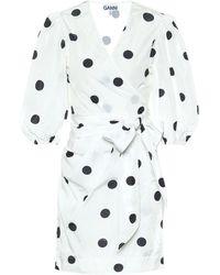 Ganni Minikleid mit Polka-Dots - Weiß