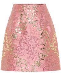 Dolce & Gabbana Brocade Lamé Miniskirt - Pink