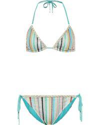 Missoni Bikini de punto de rayas - Azul