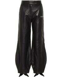 Off-White c/o Virgil Abloh Bow Cuff Leather Trousers - Black