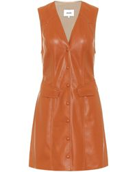 Nanushka Menphi Vegan Leather Button-front Dress - Orange