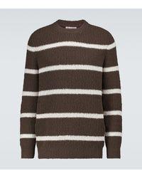 Brunello Cucinelli Jersey de algodón y lino de rayas - Marrón