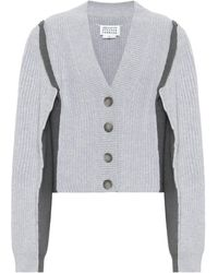 Maison Margiela Cotton And Wool-blend Cardigan - Grey