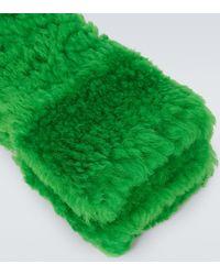 Bottega Veneta Handschuhe aus Shearling - Grün