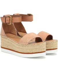 See By Chloé Glyn Leather Platform Espadrille Sandals - Multicolor