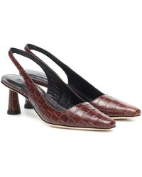 BY FAR 60mm Diana Croc Embossed Slingback Pumps - Mehrfarbig