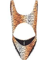 Reina Olga Bañador Marina con print de tigre - Naranja