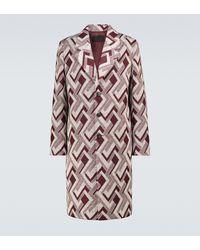Prada Abrigo de lana con jacquard - Rojo