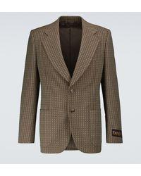Gucci Einreihiger Blazer aus einem Wollgemisch - Braun