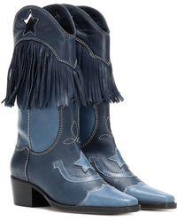 Ganni Stivali texani in pelle con frange - Blu