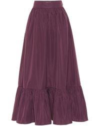 Valentino Gathered Cotton-blend Maxi Skirt - Purple